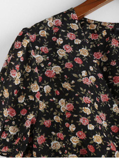 buy ZAFUL Ditsy Floral Smocked Hem Plunge Blouse - BLACK M Mobile