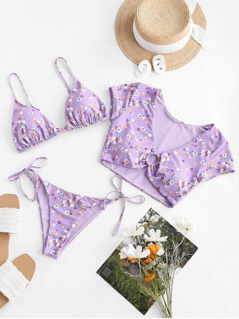 shop ZAFUL Floral Ring Reversible Three Piece Swimsuit - LIGHT PURPLE S Mobile