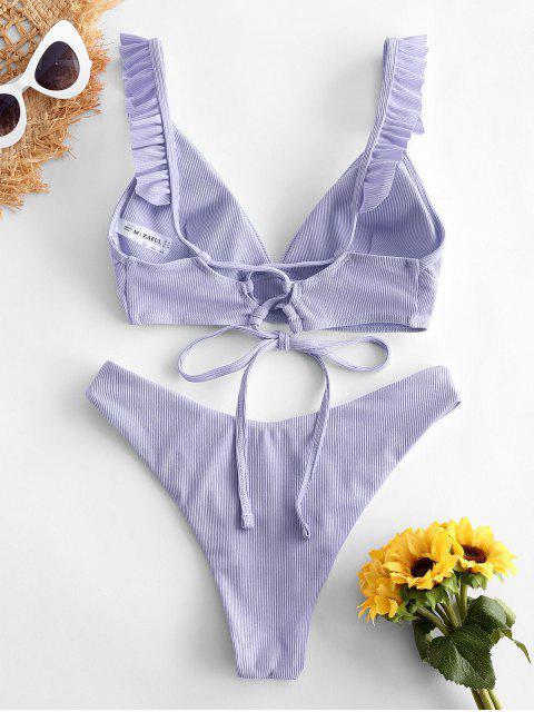 buy ZAFUL Ribbed Lace Up Plunging Ruffle Bikini Swimsuit - LIGHT PURPLE S Mobile