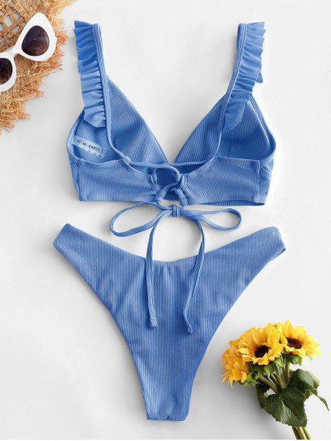 women ZAFUL Ribbed Lace Up Plunging Ruffle Bikini Swimsuit - LIGHT BLUE S Mobile