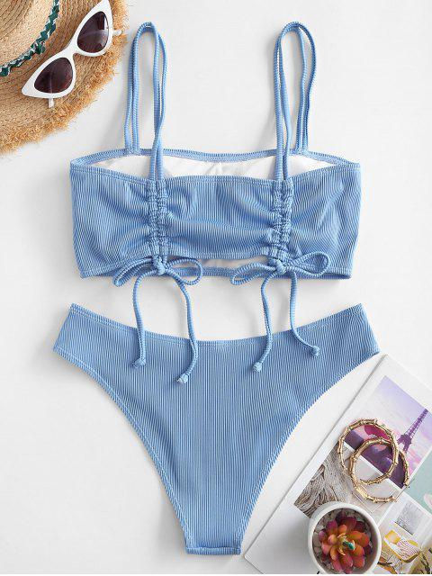 latest ZAFUL Cinched Textured Ribbed Bikini Swimsuit - LIGHT BLUE S Mobile