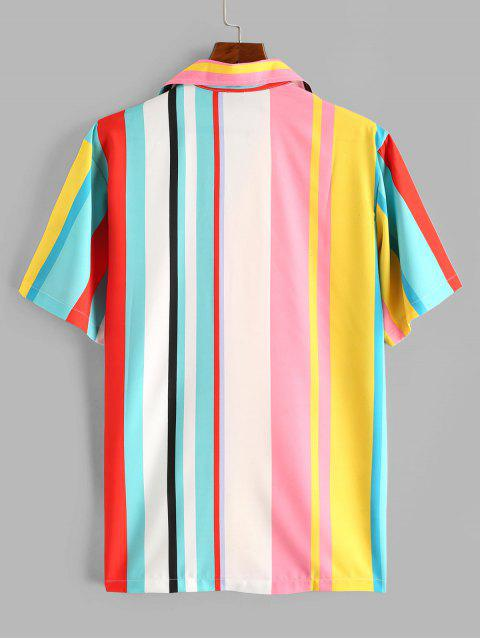 shops Colorblock Stripes Button Up Shirt - WHITE M Mobile
