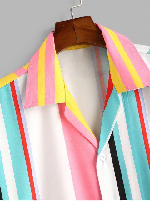 Chemise Rayée Boutonnée en Blocs de Couleurs - Blanc S Mobile