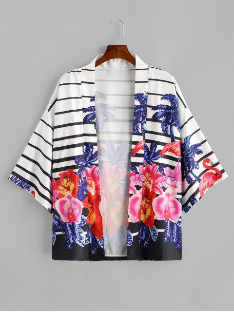 women's Tropical Plant Flamingo Striped Kimono Cardigan - COBALT BLUE S Mobile