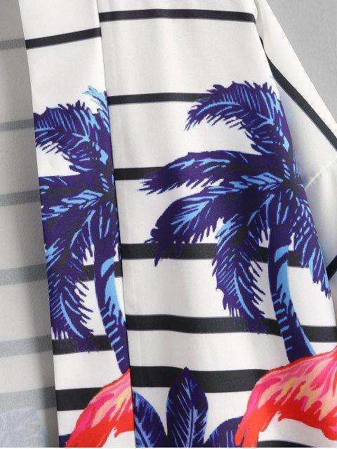 ladies Tropical Plant Flamingo Striped Kimono Cardigan - COBALT BLUE M Mobile
