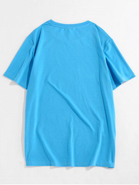 ZAFUL T-shirt de Manga Curta de Impressão Gráfica - Azul M Mobile