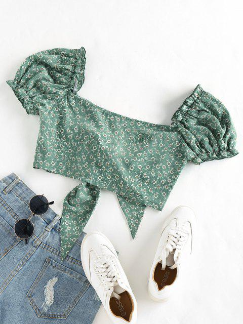 ladies ZAFUL Ditsy Print Tie Front Puff Sleeve Crop Blouse - MEDIUM SEA GREEN L Mobile