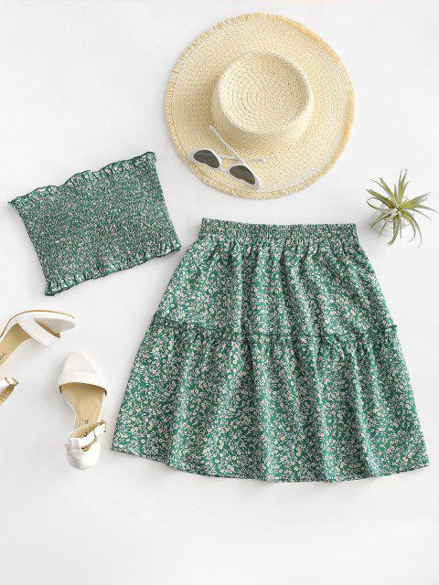 affordable Ditsy Floral Tie Front Smocked Bandeau Top Set - GREEN M Mobile