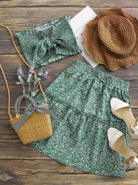 buy Ditsy Floral Tie Front Smocked Bandeau Top Set - GREEN L Mobile