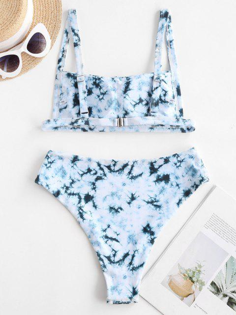 ZAFUL Krawattenfärbender Bikini Badebekleidung mit Hoher Taille - Cyan Opak S Mobile