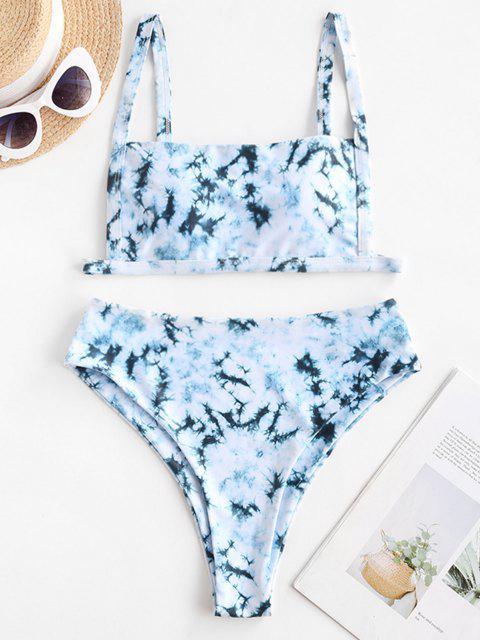 Costume da Bagno Bikini di Tie-Dye a Vita Alta di ZAFUL - Cyan Opaco M Mobile