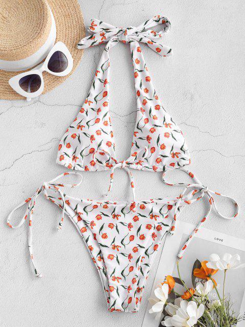 trendy ZAFUL Floral Kiss Convertible String Halter Bikini - WHITE M Mobile
