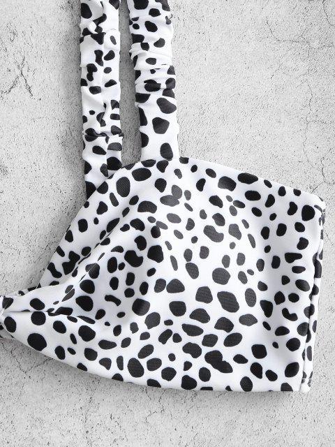 ZAFUL Maillot de Bain Bikini Noué Animal Imprimé à Bretelle Elastique - Blanc L Mobile