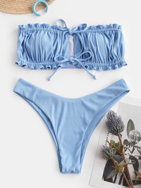 fashion ZAFUL Miss The Sky Ribbed Frilled Bikini Swimwear - LIGHT SKY BLUE M Mobile