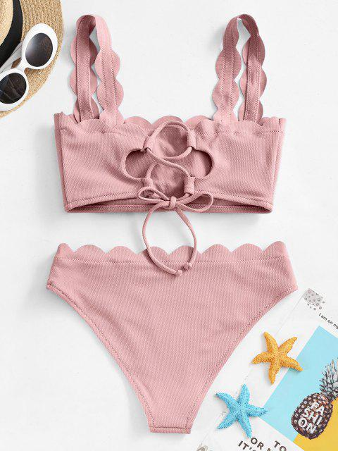 hot ZAFUL Textured Scalloped Bikini Swimsuit - LIGHT PINK M Mobile