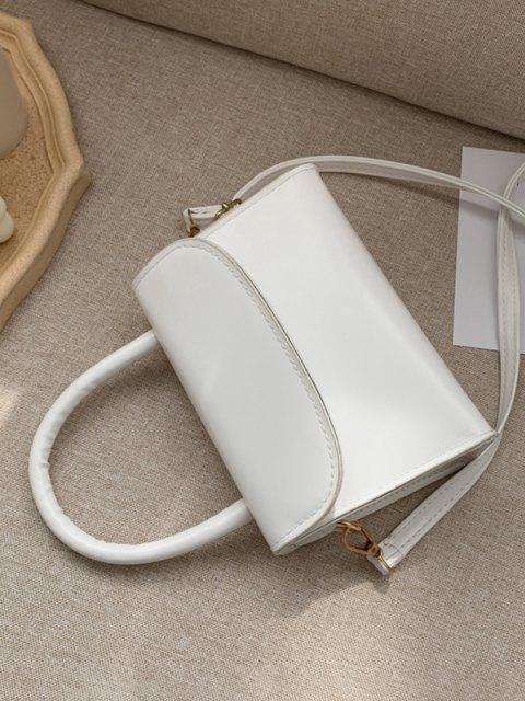 shops Solid Color Flap Top Handle Mini Crossbody Bag - WHITE  Mobile