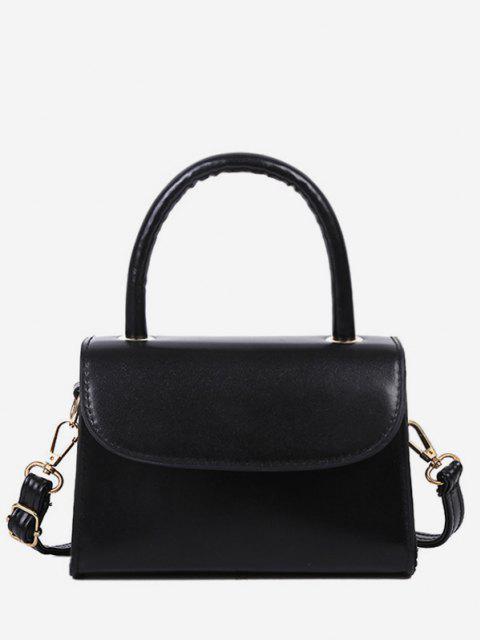 Solid Color Flap Top Handle Mini Crossbody Bag - أسود  Mobile
