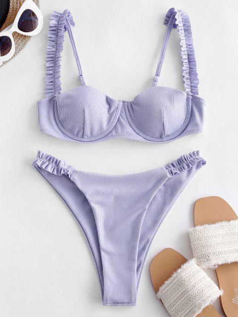 latest ZAFUL Ribbed Frilled High Cut Bikini Swimsuit - LAVENDER BLUE M Mobile