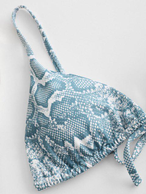 women ZAFUL Animal Print Tie String Bikini Set - LIGHT BLUE L Mobile