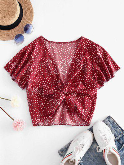 Tie Front Dotted Cropped Blouse - Red S