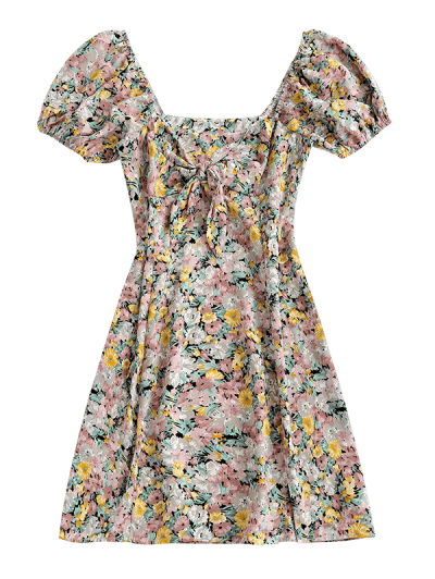 Floral Tie Front Puff Sleeve Mini Dress