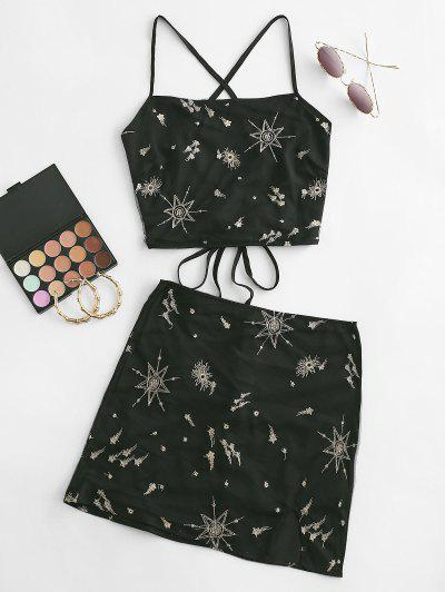 Metallic Thread Stars Embroidered Mesh Two Piece Dress - Black M