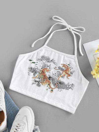 ZAFUL Tiger Flower Print Halter Crop Tank Top - White Xl