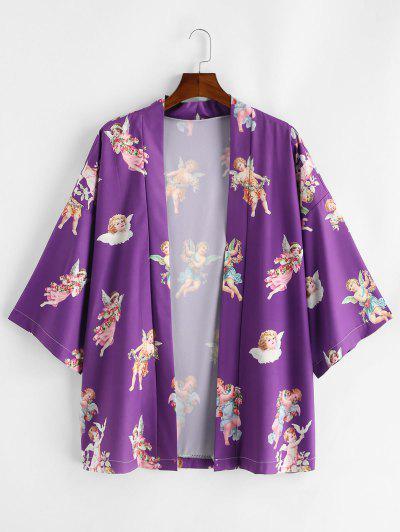 Angel Print Open Front Kimono Cardigan - Purple 2xl
