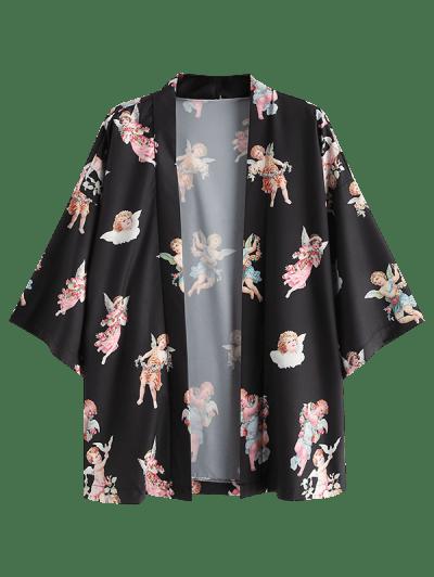Angel Print Open Front Kimono Cardigan