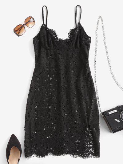 Eyelash Lace Cupped Slit Bodycon Dress - Black L