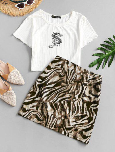 ZAFUL Dragon Oriental Ribbed Animal Print Two Piece Dress - White M