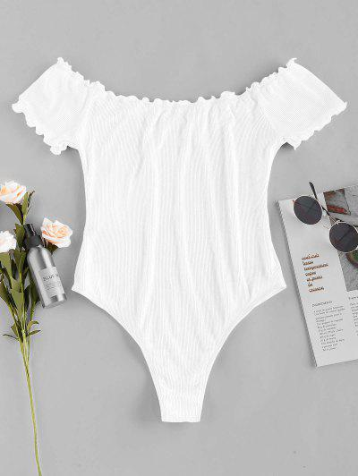ZAFUL Lettuce Trim Ribbed Off Shoulder Bodysuit - White S