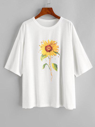Sunflower Drop Shoulder Boyfriend Loose Tunic Tee - White S