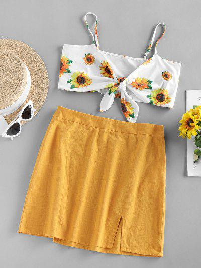 ZAFUL Front Tie Sunflower Print Two Piece Dress - Yellow L