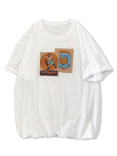Ice Hockey Sport Graphic Print Basic T Shirt - White S