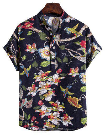 Ethnic Floral Birds Print Stand Collar Henley Shirt - Black Xl