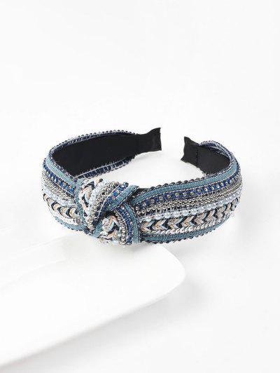 Faixa De Cabelo De Contas Com Lantejoulas - Azul