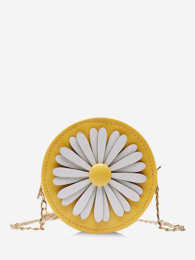 Floral Mini Round Chain Crossbody Bag - Yellow