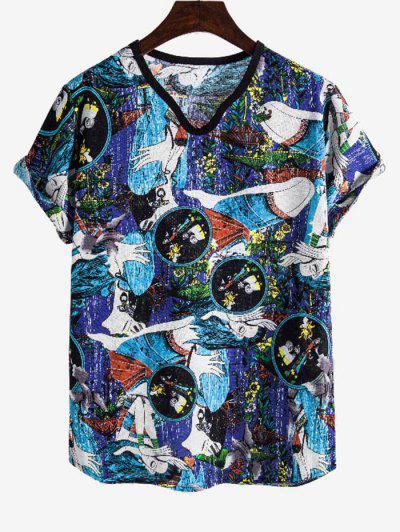 Ethnic Girl Print Rolled Sleeve V Neck T Shirt - Multi 3xl