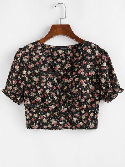 ZAFUL Ditsy Floral Smocked Hem Plunge Blouse - Black S