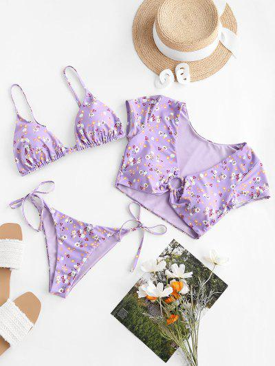 ZAFUL Floral Ring Reversible Three Piece Swimsuit - Light Purple S