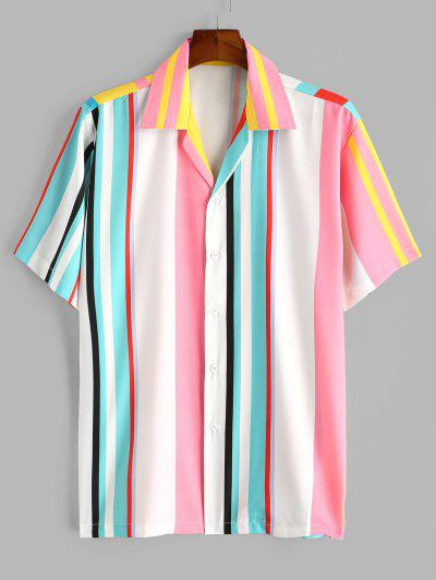 Colorblock Stripes Button Up Shirt - White L
