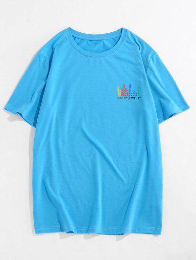 ZAFUL Graphic Print Round Neck Slogan T-shirt - Blue 2xl