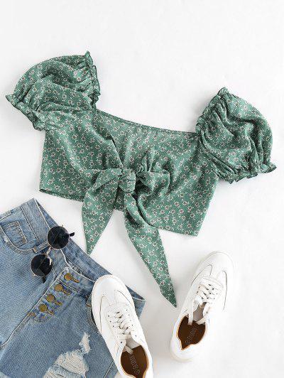 ZAFUL Ditsy Print Tie Front Puff Sleeve Crop Blouse - Medium Sea Green Xl