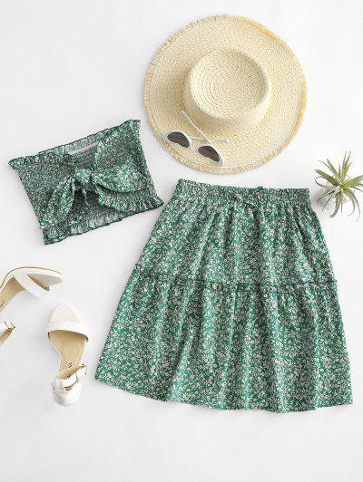 Ditsy Floral Tie Front Smocked Bandeau Top Set - Green L