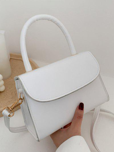 Solid Color Flap Top Handle Mini Crossbody Bag - White