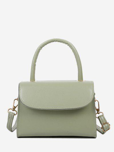 Solid Color Flap Top Handle Mini Crossbody Bag - Light Green