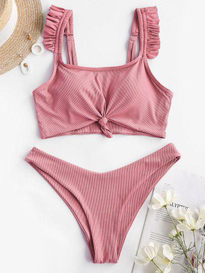 ZAFUL Ruffle Knot Ribbed Tankini Swimwear - Light Pink L