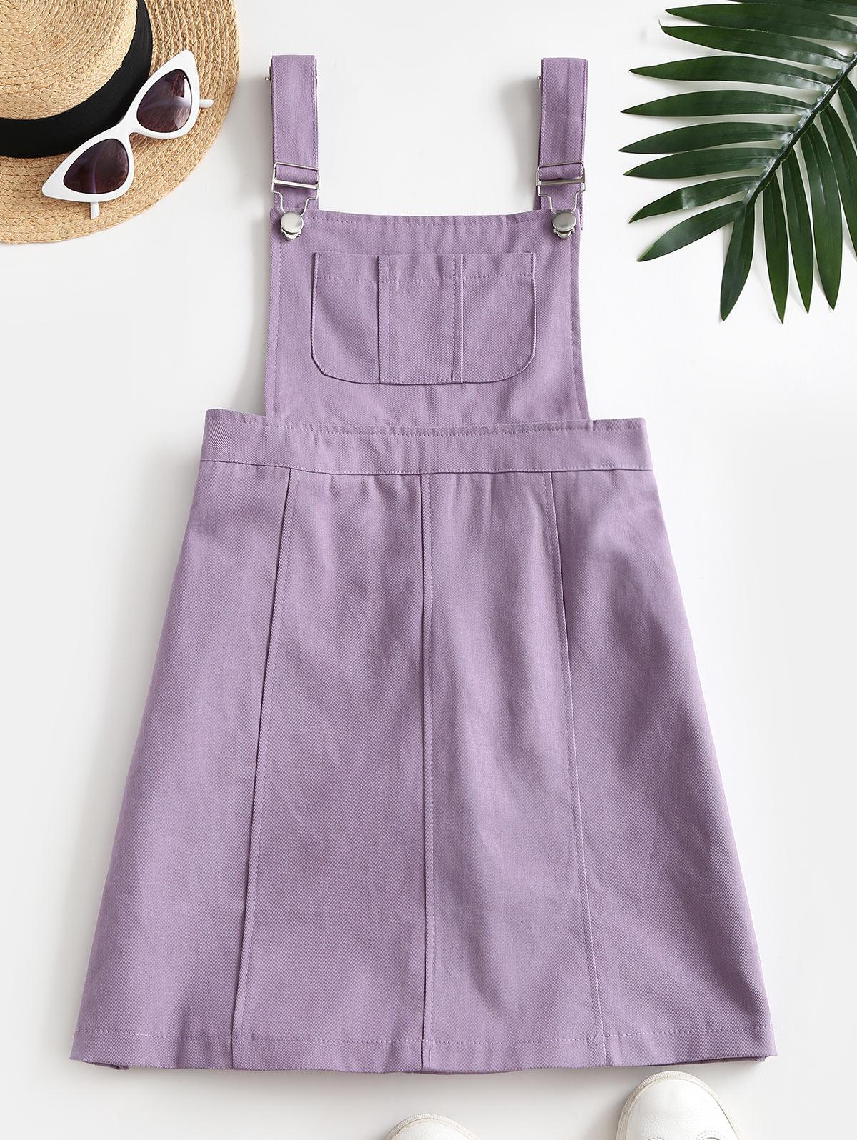 Casual Pockets Overalls Mini Dress