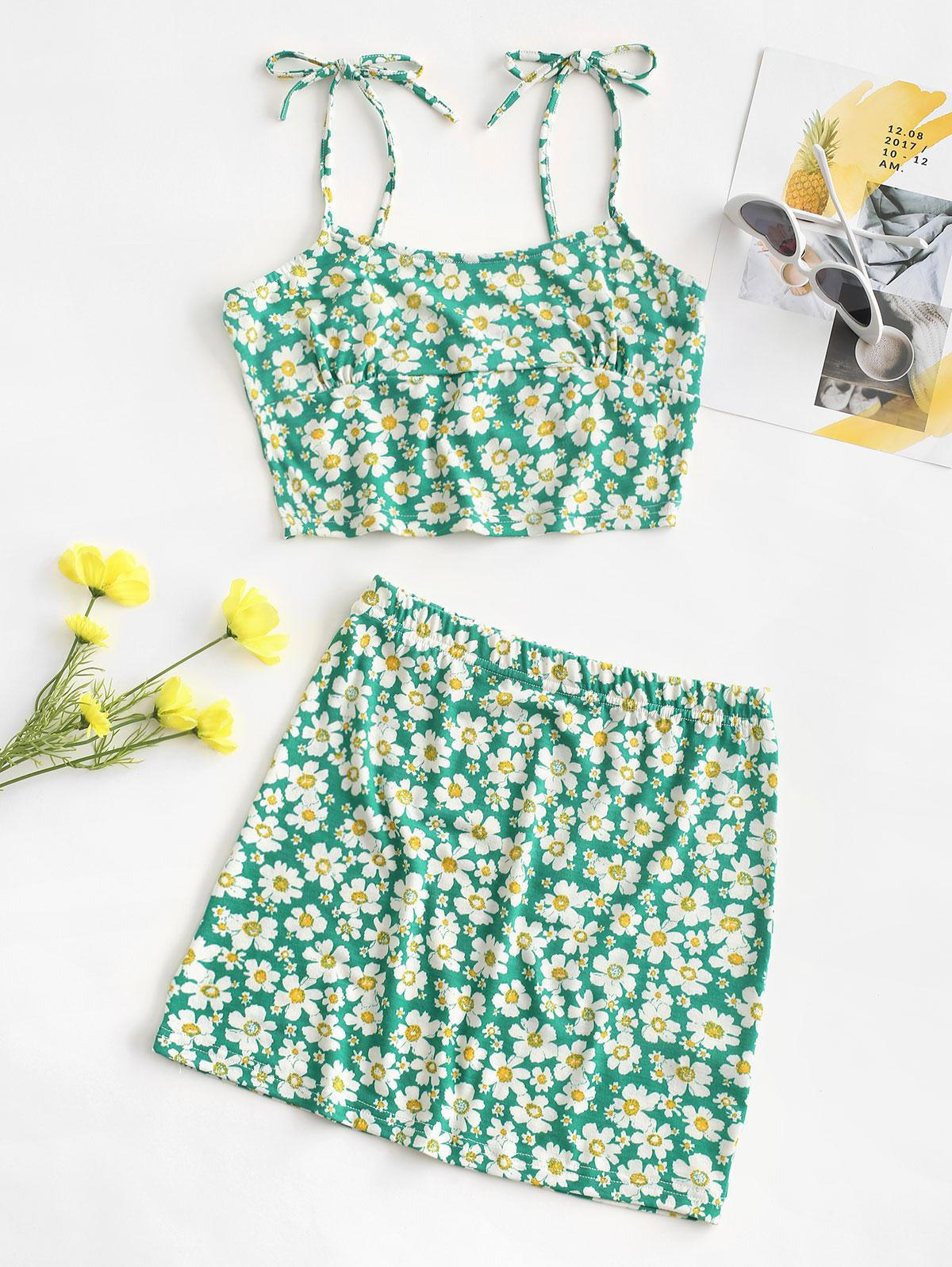 Tie Floral Two Piece Dress